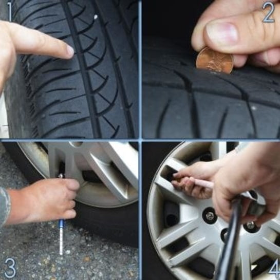 How to check your tires for pressure and tread wear.